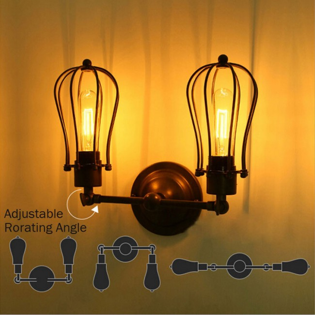 Rustic Industrial Lighting Double Sconce Wall Light Iron: WinSoon Modern Vintage Industrial Loft Metal Double Rustic