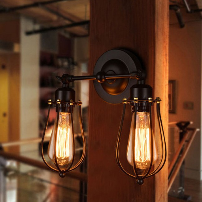 WinSoon Modern Vintage Industrial Loft Metal Double Rustic Sconce Wall Light All Products