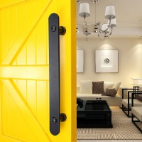 "WinSoon New Design 15.75"" Pull and Flush Barn Door Handle Black Metal for Sliding Door Hardware"