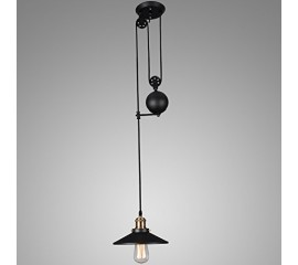 Winsoon Pulley Droplight Antique Retro Iron Pendant Ceiling Adjustable(1 Head)
