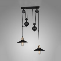 Winsoon Pulley Droplight Antique Retro Iron Pendant Ceiling Adjustable(2 Head)