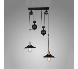 Winsoon Pulley Droplight Antique Retro Iron Pendant Ceiling Adjustable(2 Head)