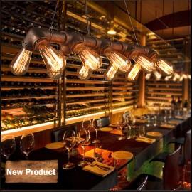WINSOON Retro Industrial 10 Heads Steampunk LAMP Iron Pipe Island Ceiling Fixture Pendant Light Vintage Bronze