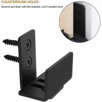 Winsoon Sliding Barn Door Bottom Floor Guide U Shape Flexible Adjustable Fit Distance Flush Flat Bottom Design Wall Mount System for Door & Cabinet Black
