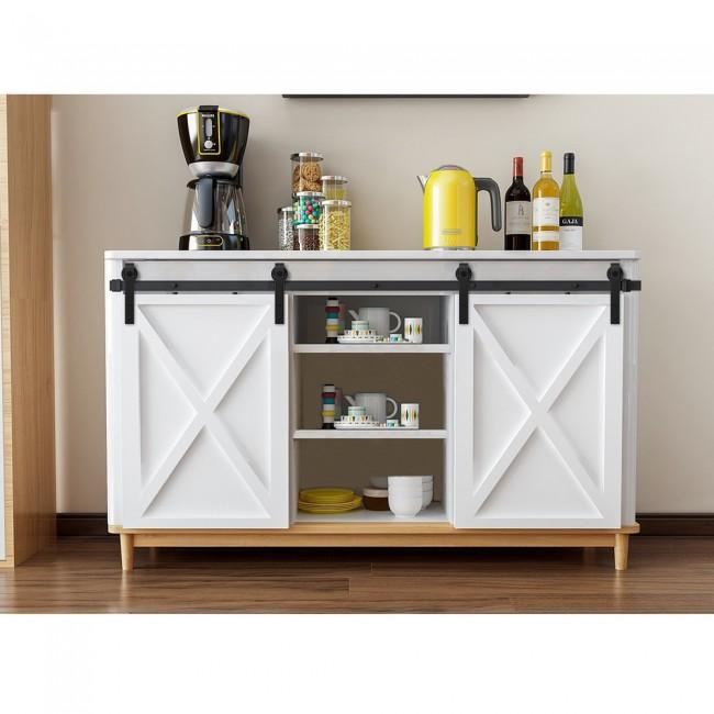 WinSoon Sliding Barn Door Hardware Wood Door Closet Cabinet Track Kit Mini Bent