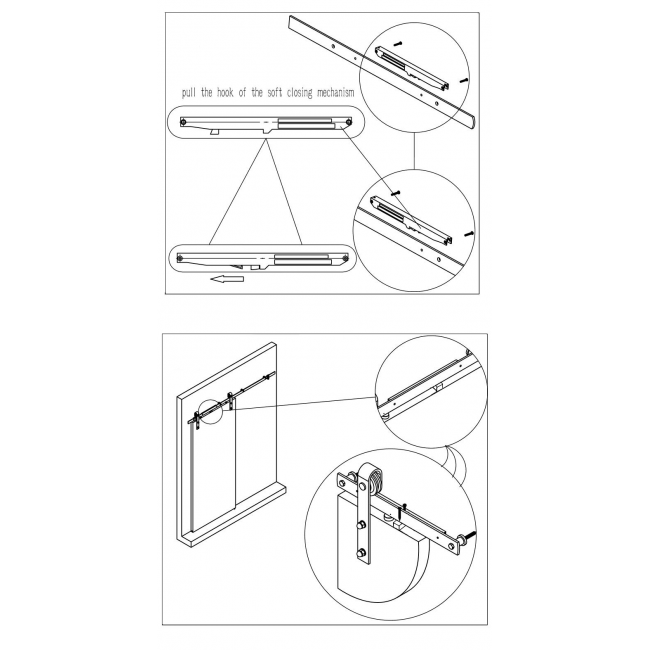 Winsoon Soft Close Mechanism For Sliding Barn Door Hardware Track