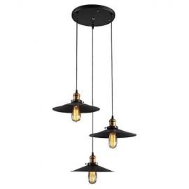 WinSoon Vintage 3 Edison Lights Hanging Island Pendant Plating Finish Light