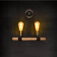 WinSoon Vintage Hemp Rope Metal 2 Heads Light Wall Lamp Sconce for Study and Bar Counter All Products