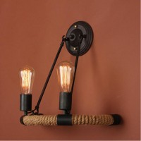 WinSoon Vintage Hemp Rope Metal 2 Heads Light Wall Lamp Sconce for Study and Bar Counter