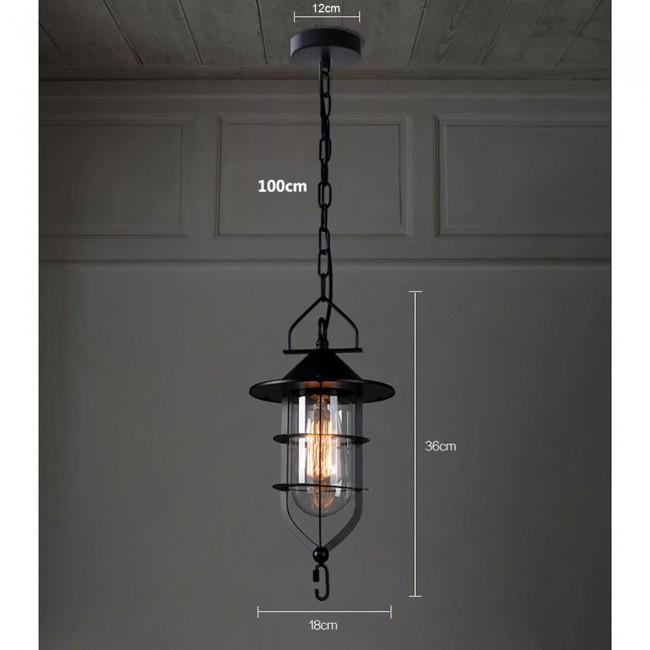 Vintage Industrial Glass Ceiling Pendant Chandelier Light: WinSoon Vintage Industrial Metal Ceiling Pendant Light