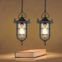 WinSoon Vintage Industrial Metal Ceiling Pendant Light Cage Glass Shade Chandelier Lamp