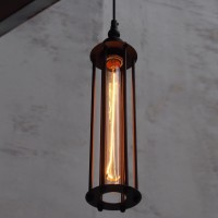 WinSoon Vintage Industrial Modern Loft Bar Lamp Ceiling Metal Pendant Light Cage Black