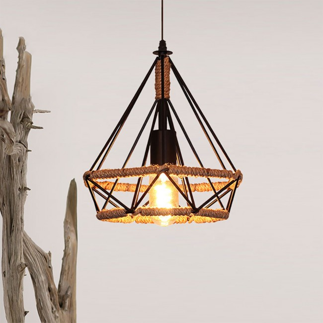 winsoon vintage island triangle twine rope ceiling hanging lamp pendant light fixture all products - Hanging Lamp