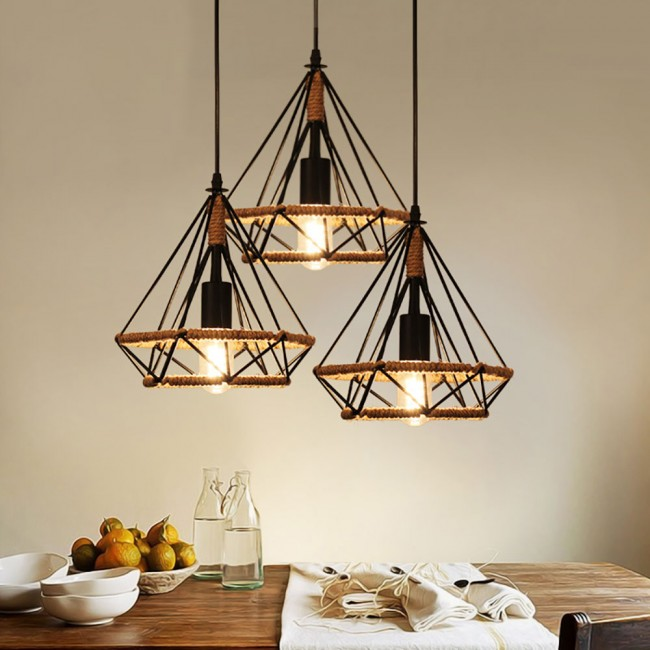 style nordic pendant p hanging in novelty industrial with cage wire metal net light