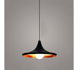 WinSoon Vintage Pendant Light Oil-Rubbed Painted Finish Black with Gold Inside(A)