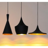 WinSoon Vintage Pendant Light Oil-Rubbed Painted Finish Black with Gold Inside(B) All Products