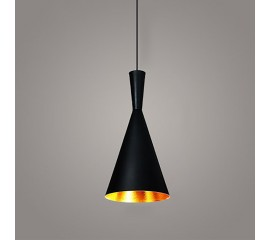 WinSoon Vintage Pendant Light Oil-Rubbed Painted Finish Black with Gold Inside(B)