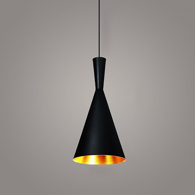 Attractive WinSoon Vintage Pendant Light Oil Rubbed Painted Finish Black With Gold  Inside(B)