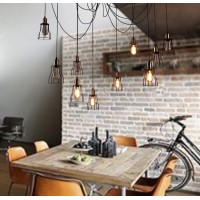 WinSoon Vintage Retro Industrial Hanging Bar Metal Ceiling Light Pendant Lamp Cage Shade