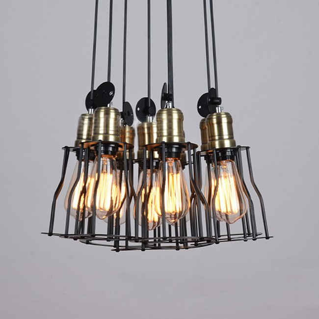 Winsoon vintage retro industrial hanging bar metal ceiling light winsoon vintage retro industrial hanging bar metal ceiling light pendant lamp cage shade all products aloadofball Gallery