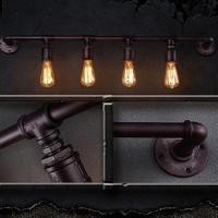 WinSoon Vintage Water Pipe Barn Industrial Wall Lamp 2/4 Heads Black Finished All Products
