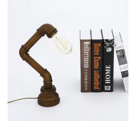 WinSoon Vintage Water Pipe Retro Desk Top Loft Minimalist 1-Light Rustic Table Lamp