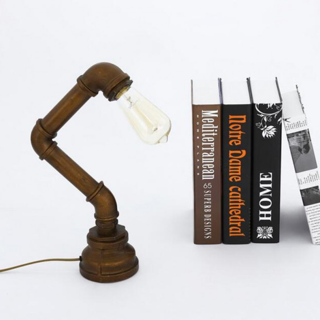 WinSoon Vintage Water Pipe Retro Desk Top Loft Minimalist 1-Light Rustic Table Lamp All Products