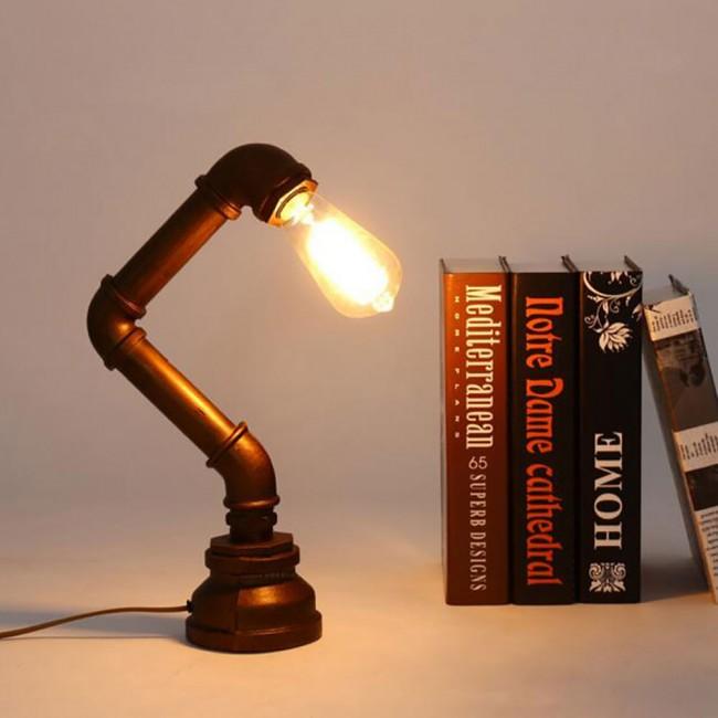WinSoon Vintage Water Pipe Retro Desk Top Loft Minimalist 1 Light Rustic  Table Lamp