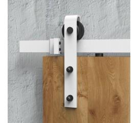 WinSoon White Antique Roller Kit for Sliding Barn Door Hardware System (Bending Design)