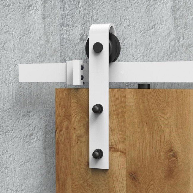 WinSoon White Antique Roller Kit For Sliding Barn Door Hardware System  (Bending Design) All
