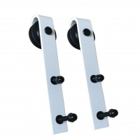 WinSoon White Antique Roller Kit for Sliding Barn Door Hardware System (Bending Design) All Products