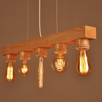 WinSoon Wooden Ceiling Fixture Island Light Pendant Lamp Lighting Hanging Bar Chandelier