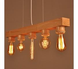 WinSoon Wooden Ceiling Fixture Island Light Pendant Lamp Lighting Hanging Bar Chandelier